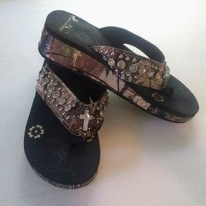 Montana West Camo Jeweled Cross Sandal Flip Flops